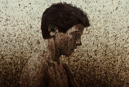 Santayana Quote, artistic painting of boy made from mud splatter