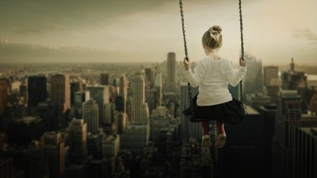 Rostand Quote, girl on a swing overseeing the city skyline