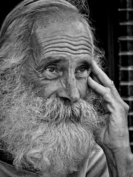 Aeschylus Quote, old wise man with beard and wrinkles