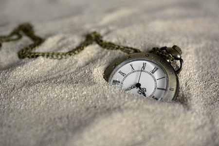 William Blake Quote, pocket watch burried in sand