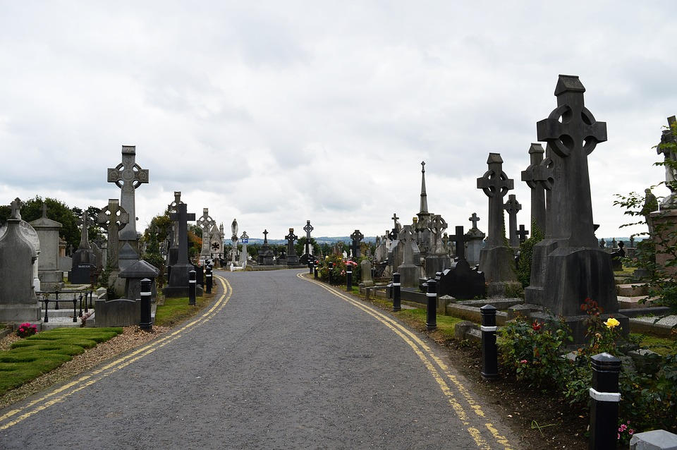 Muldoon Quote, road through Milltown Cemetery in Belfast, Northern Ireland