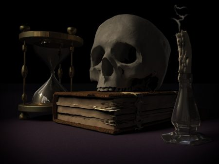 Tufte Quote, skull, book, candle and hourglass as symbols of mortality